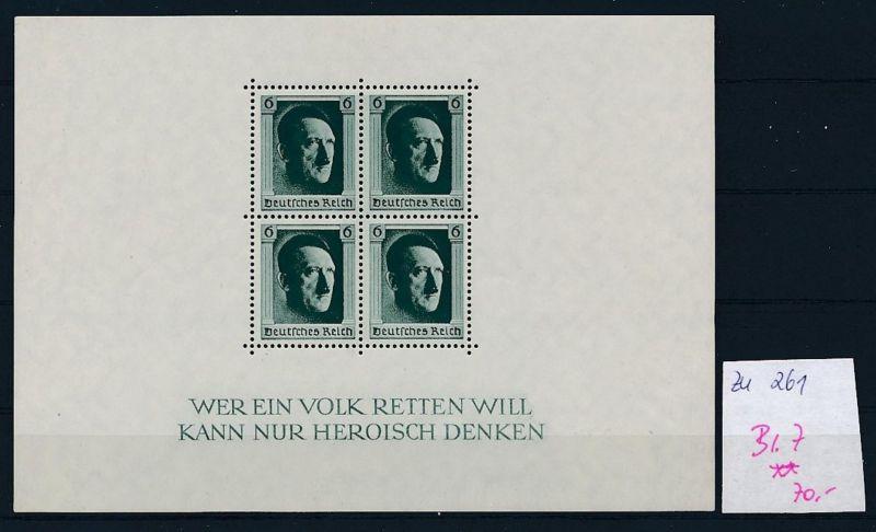 D.-Reich Nr. Block 7  -bitte Zettel beachten....    (zu261  ) siehe scan
