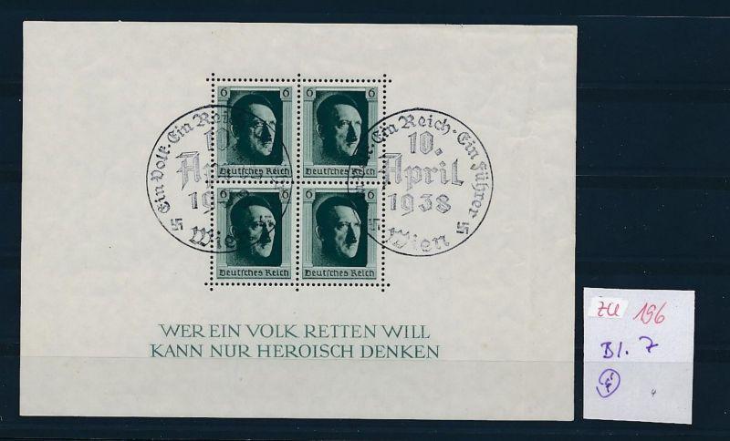 D.-Reich Nr. Block 7  -bitte Zettel beachten....    (zu196  ) siehe scan