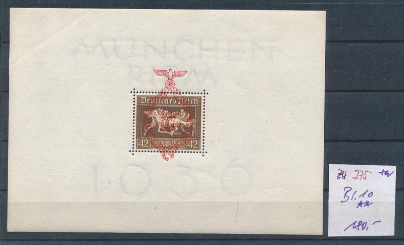 D.Reich  Nr. Block  10  ** Bug  (zu275  ) siehe scan