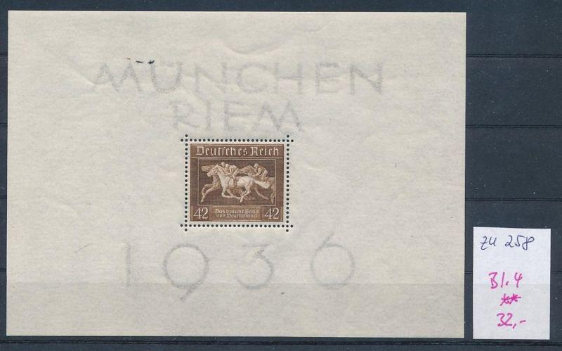 D.Reich  Nr. Block  4  **  (zu258  ) siehe scan