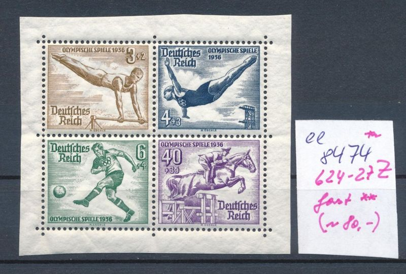 D.-Reich Nr. 624-27  Z   Blockmarke    (ee8474  ) siehe scan