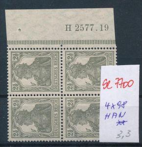 D.-Reich Nr. 4x98 mit HAN   **  (se7700 ) siehe scan !