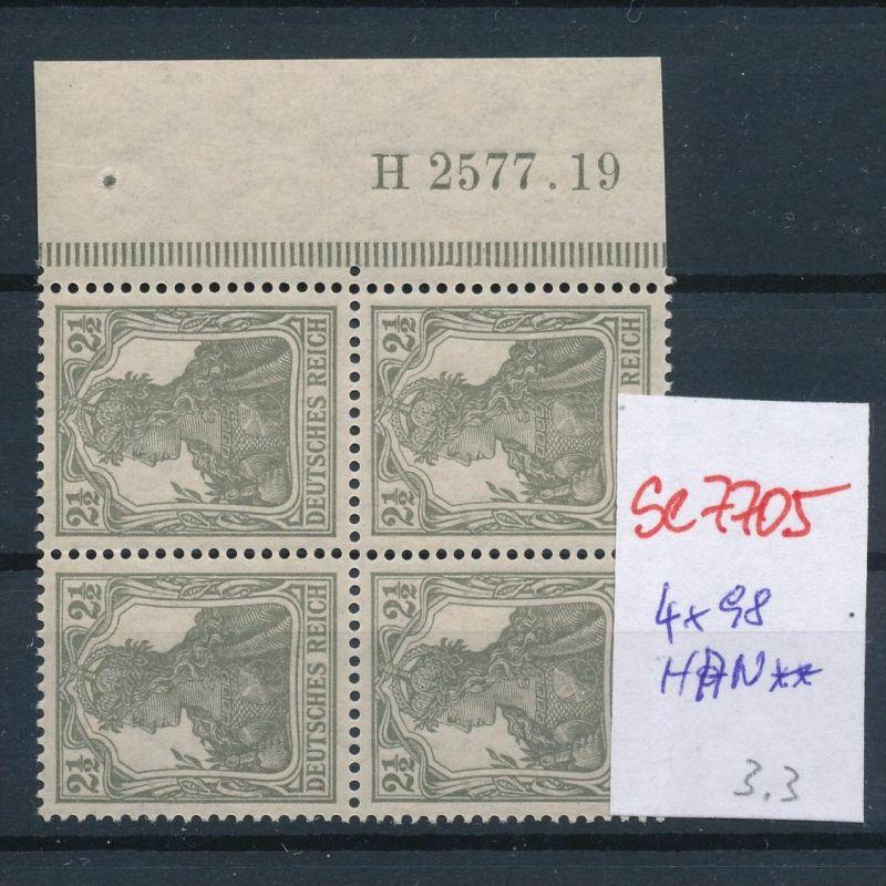 D.-Reich Nr. 4x98 mit HAN   **  (se7705 ) siehe scan ! 0