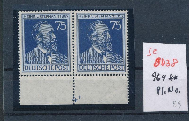 Zonen Nr. 2x 964 mit Platten Nummer**   (se 8039  ) siehe Bild