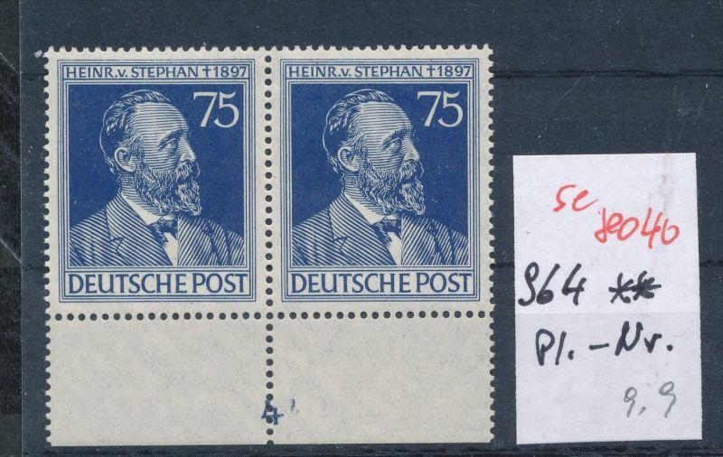 Zonen Nr. 2x 964 mit Platten Nummer**   (se 8040  ) siehe Bild