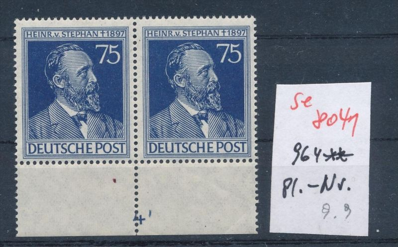 Zonen Nr. 2x 964 mit Platten Nummer**   (se 8041  ) siehe Bild 0