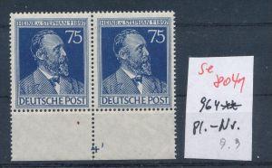 Zonen Nr. 2x 964 mit Platten Nummer**   (se 8041  ) siehe Bild