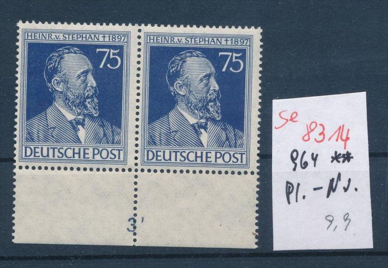 Zonen Nr. 2x 964 mit Platten Nummer**   (se 8314  ) siehe Bild