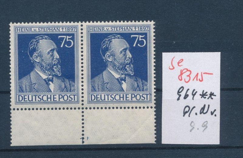 Zonen Nr. 2x 964 mit Platten Nummer**   (se 8315  ) siehe Bild