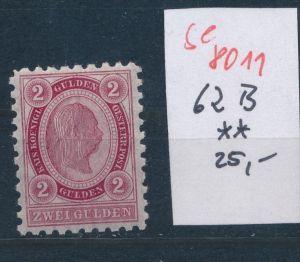 Österreich Nr. 62 B **   (se 8011 ) siehe Bild