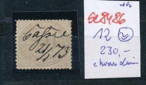 D.-Reich Nr. 12  -Federstrich  (se8486  ) siehe Bild  !!