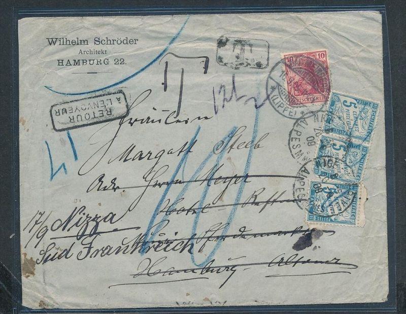 D.-Reich    - alter Beleg  ...Germania Nachporto Frankreich  (ze 7482 ) siehe scan
