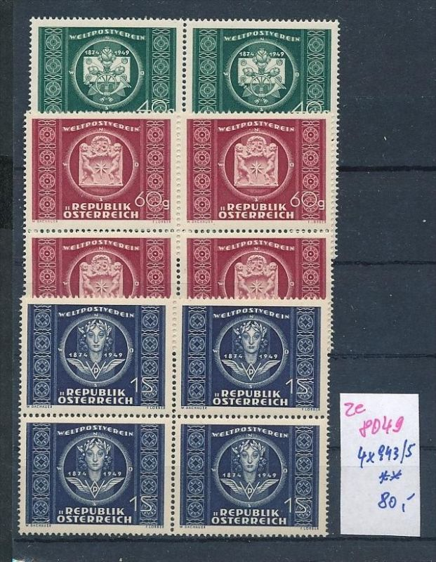 Österreich     Nr. 4x 943-5 **  (ze8049 ) siehe scan