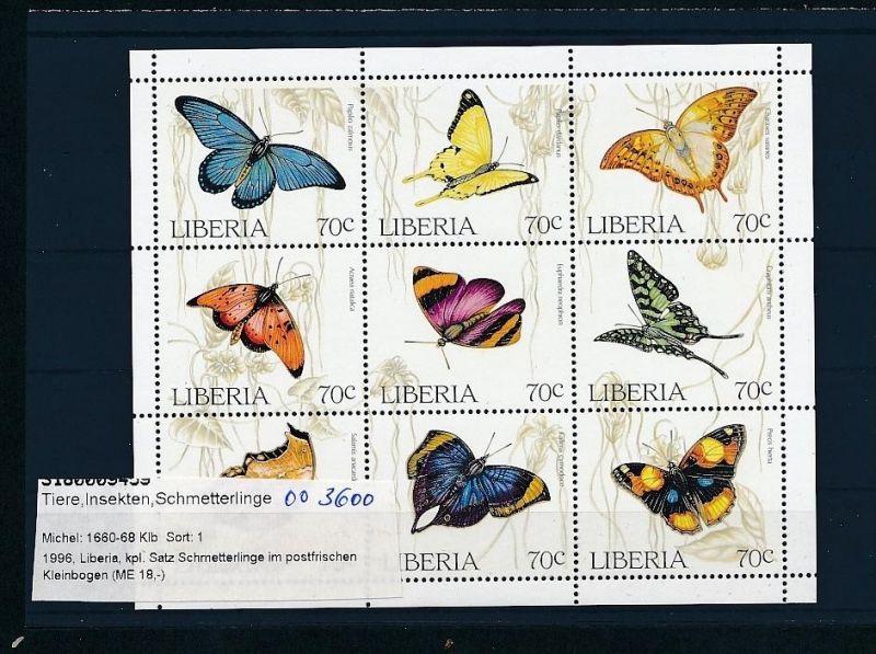 Schmetterlinge/Falter  Liberia 1660-69     **   ( oo3600 ) siehe scan !