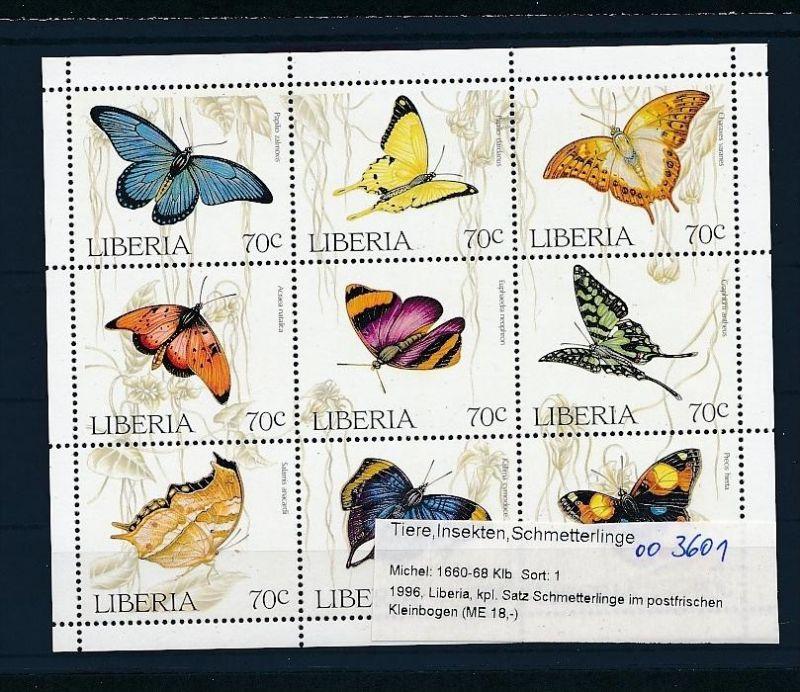 Schmetterlinge/Falter  Liberia 1660-69     **   ( oo3601 ) siehe scan !