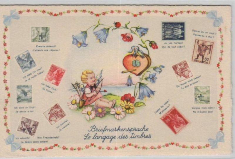 Motiv-Briefmarken-Sprache   div. - schöne alte Karte ....   (ka5729  ) siehe scan