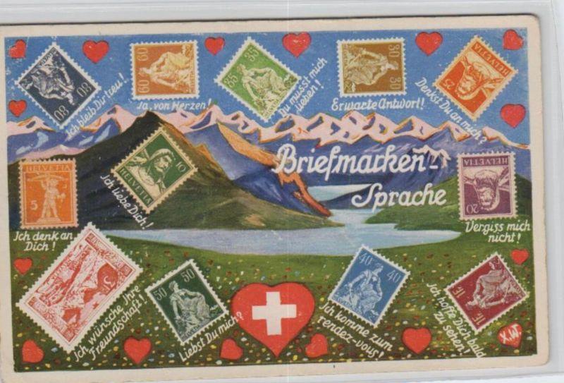 Motiv-Briefmarken-Sprache   div. - schöne alte Karte ....   (ka5739  ) siehe scan