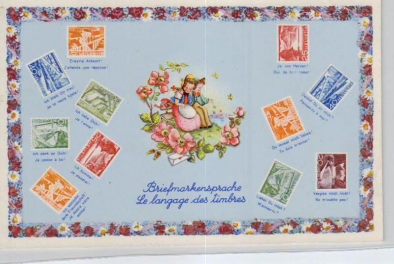 Motiv-Briefmarken-Sprache   div. - schöne alte Karte ....   (ka5741  ) siehe scan