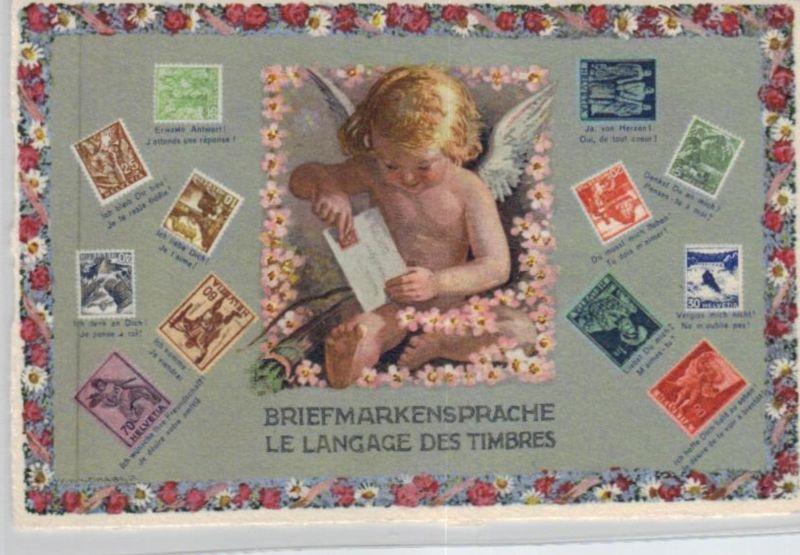 Motiv-Briefmarken-Sprache   div. - schöne alte Karte ....   (ka5749  ) siehe scan