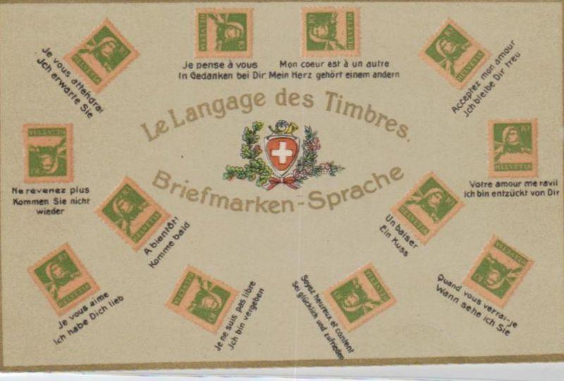 Motiv-Briefmarken-Sprache   div. - schöne alte Karte ....   (ka5757  ) siehe scan