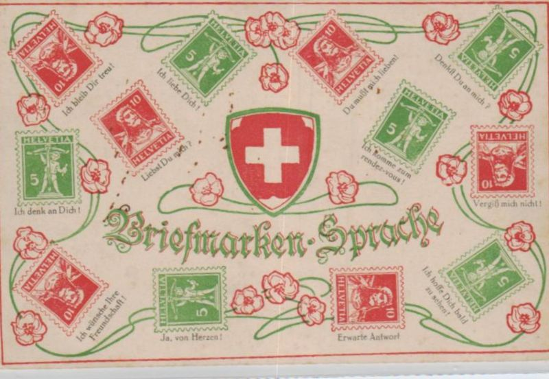 Motiv-Briefmarken-Sprache   div. - schöne alte Karte ....   (ka5761  ) siehe scan