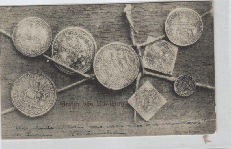 Motiv-Münzen/Geld  - schöne alte Karte ....   (ka5433  ) siehe scan