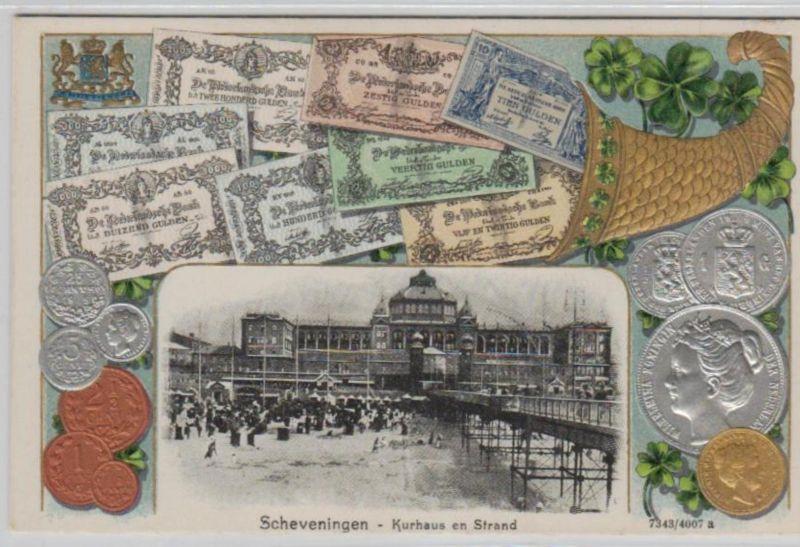 Motiv-Münzen/Geld  - schöne alte Karte ....   (ka5421  ) siehe scan