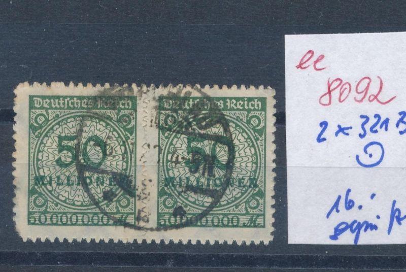 D.-Reich  Nr.  2x 321 B o geprüft..   (ee8092  ) siehe scan