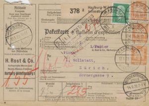 Paketkarte  - Ausland-BEDARF Erhalt  ( br1459  ) siehe scan