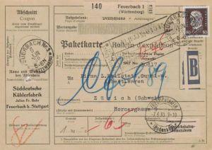 Paketkarte  - Ausland-BEDARF Erhalt  ( br1477  ) siehe scan