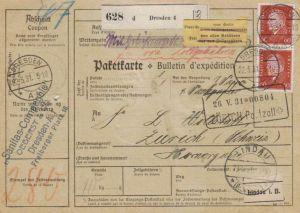 Paketkarte  - Ausland-BEDARF Erhalt  ( br1493  ) siehe scan