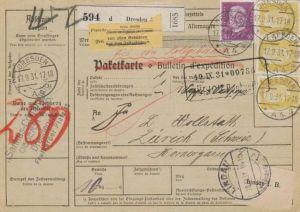 Paketkarte  - Ausland-BEDARF Erhalt  ( br1495  ) siehe scan