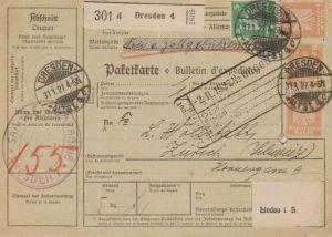 Paketkarte  - Ausland-BEDARF Erhalt  ( br1505  ) siehe scan