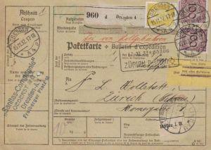 Paketkarte  - Ausland-BEDARF Erhalt  ( br1517  ) siehe scan