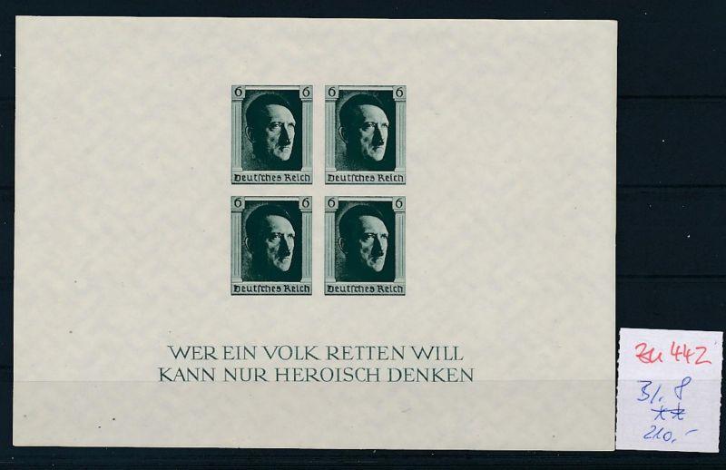 D.-Reich Nr.  Block 8  **   (zu442  ) siehe scan