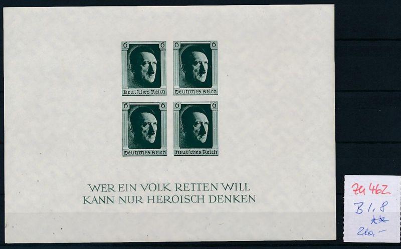 D.-Reich Nr.  Block 8  **   (zu462  ) siehe scan