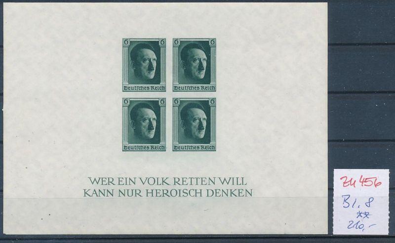 D.-Reich Nr.  Block 8  **   (zu456  ) siehe scan