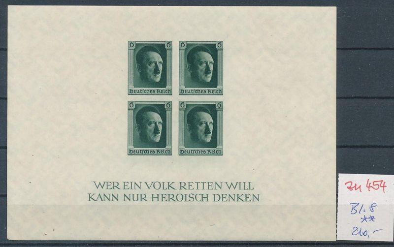 D.-Reich Nr.  Block 8  **   (zu454  ) siehe scan