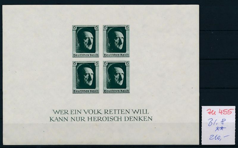 D.-Reich Nr.  Block 8  **   (zu455  ) siehe scan
