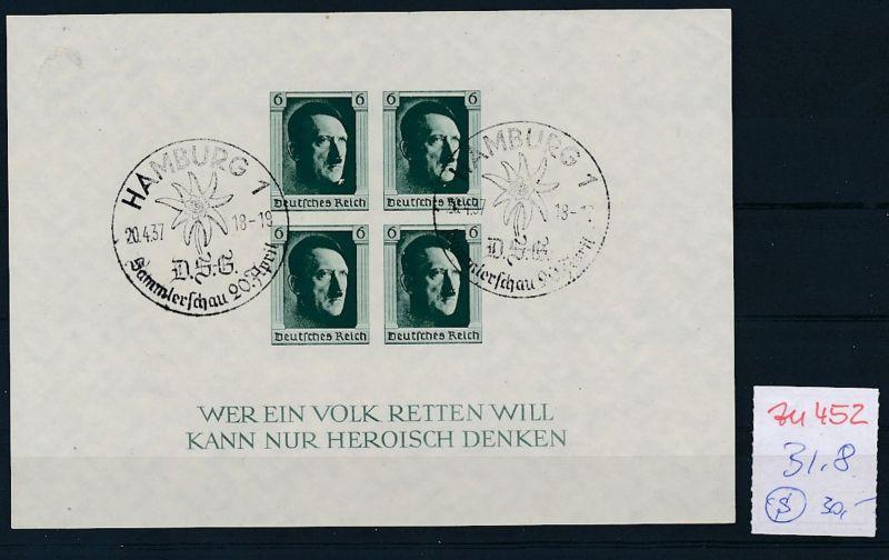 D.-Reich Nr.  Block 8  o   (zu452  ) siehe scan