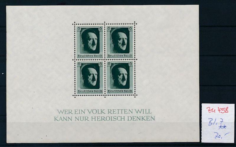 D.-Reich Nr.  Block 7  **  (zu458  ) siehe scan
