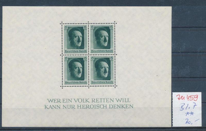 D.-Reich Nr.  Block 7  **  (zu459  ) siehe scan