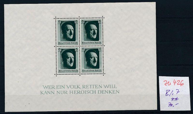 D.-Reich Nr.  Block 7  **  (zu426  ) siehe scan