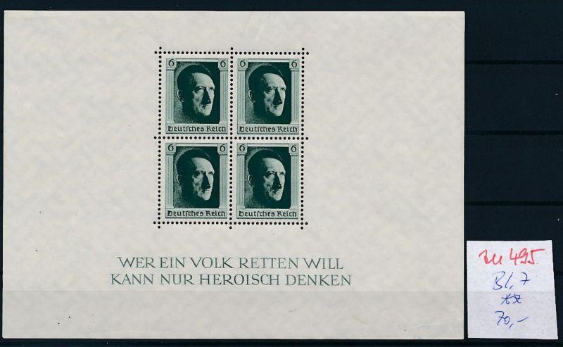 D.-Reich Nr.  Block 7  **  (zu495  ) siehe scan