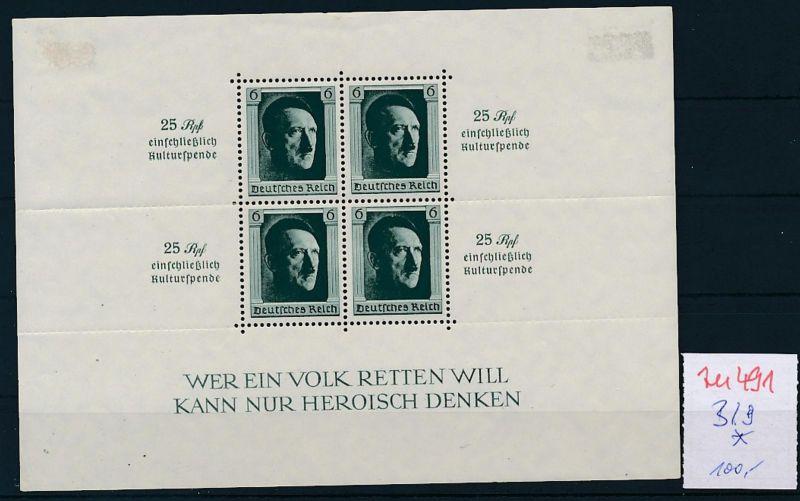 D.-Reich Nr.  Block  9 *   (zu491 ) siehe scan