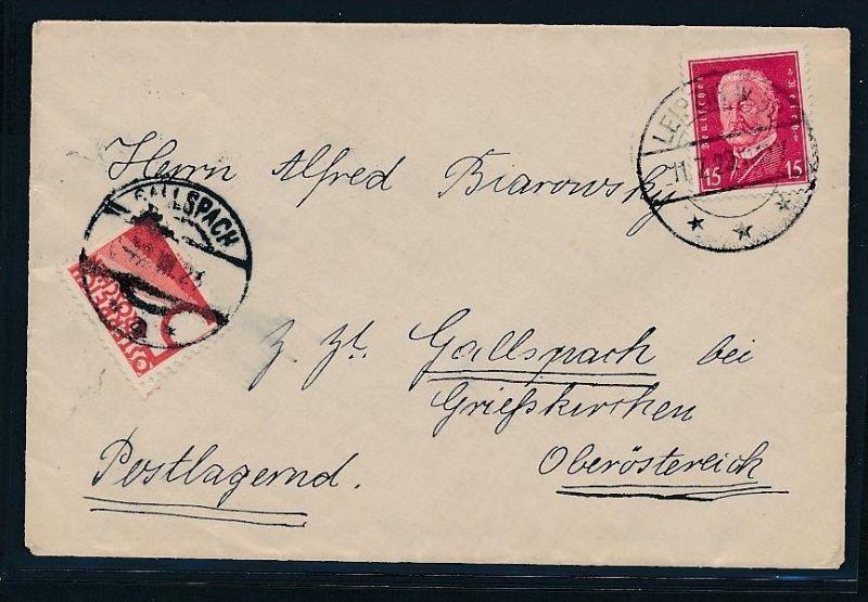 Brief nach Österreich -Nachporto   (be1205  ) siehe scan