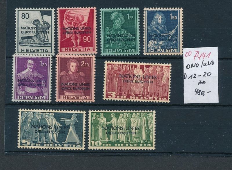 Schweiz Nr.  ONU  12-20    **      (oo7441  ) siehe scan
