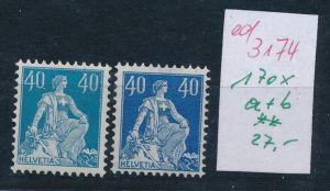 Schweiz Nr. 170x   a+b   **   (ed3174  ) siehe scan