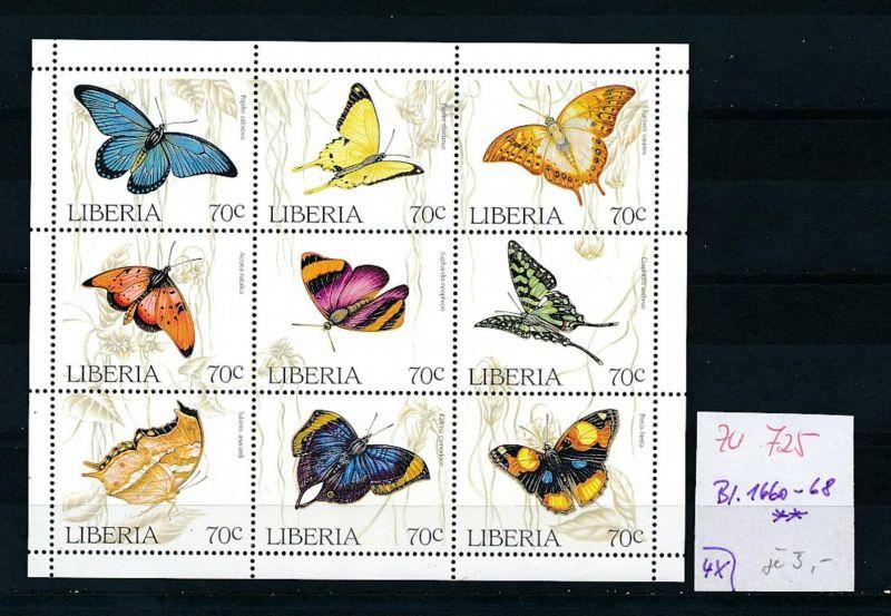 Schmetterlinge -Liberia Block 1660-68   **  (zu725 ) siehe scan