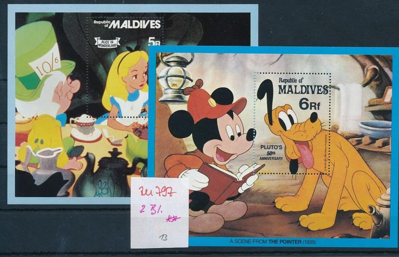 Disney 2 Blocks ** - Malediven   (zu797   ) siehe scan
